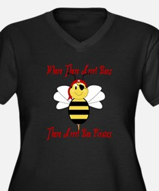 Where There Arrr! Bees Women's Plus Size V-Neck Da