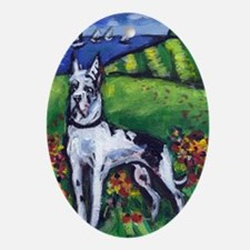 GREAT DANE Harlequin Design Oval Ornament