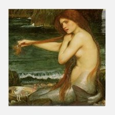 Mermaid by JW Waterhouse Tile Coaster