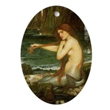 Mermaid by JW Waterhouse Ornament (Oval)