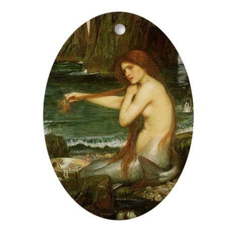 Mermaid by JW Waterhouse Ornament (Oval)