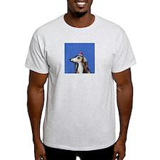 SALUKI christmas Santa Hat Ash Grey T-Shirt