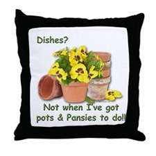 Pots & Pansies Throw Pillow