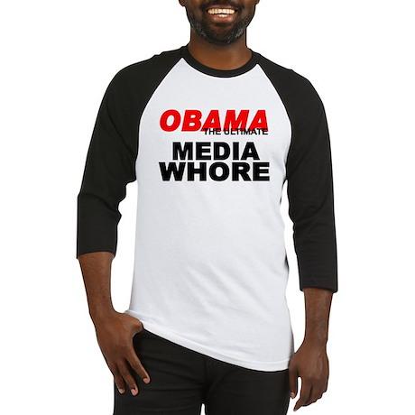 """Obama-The Ultimate Media Whore"" Baseball Jersey"