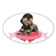 Wirehaired Dachshund Valentine Oval Decal