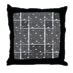 Grey Grid Throw Pillow