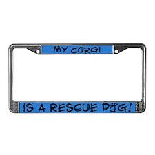 Rescue Dog Corgi License Plate Frame