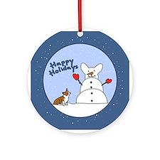 Snowman Corgi Ornament