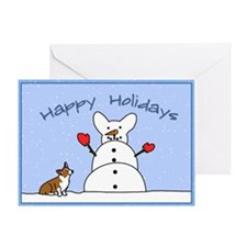 Snowman Corgi Greeting Card