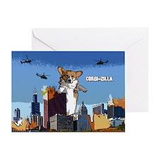 Corgi-zilla Single Greeting Card