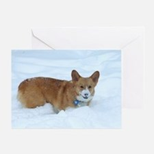 Playing in the Snow Corgi Greeting Card