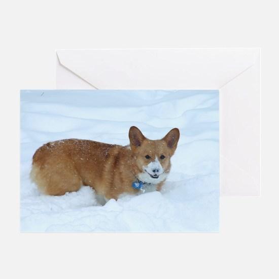 Playing in the Snow Corgi Greeting Card