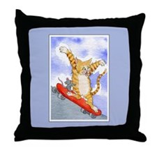 Tabby Cat & Mouse Skateboard Throw Pillow
