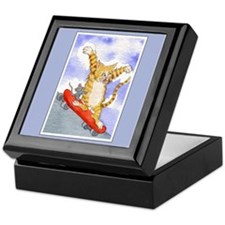 Tabby Cat & Mouse Skateboard Keepsake Box