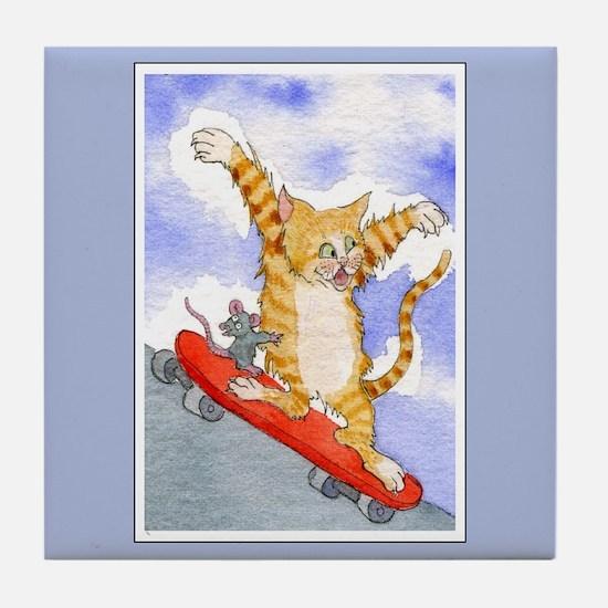 Tabby Cat & Mouse Skateboard Tile Coaster