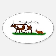 Corgi Herding Oval Decal