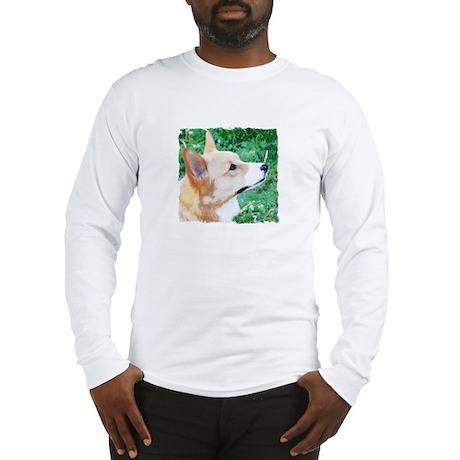 Profile Watercolor Corgi Long Sleeve T-Shirt