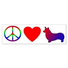 Peace, Love, Pembroke Welsh Corgi Bumper Bumper Sticker