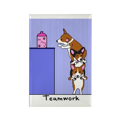 Corgi Teamwork Rectangle Magnet (10 pack)