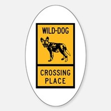 Wild Dog Crossing Place, Zimbabwe Oval Decal