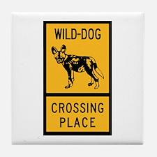 Wild Dog Crossing Place, Zimbabwe Tile Coaster