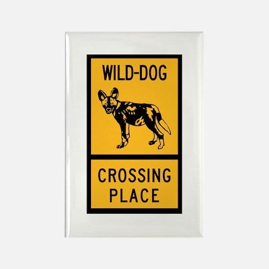 Wild Dog Crossing Place, Zimbabwe Rectangle Magnet