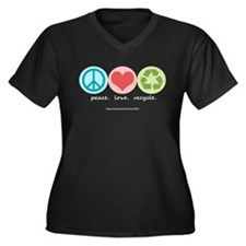 """peace. love. recycle"" Women's Plus Size V-Neck Da"
