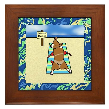 Nude Beach Corgi Framed Tile