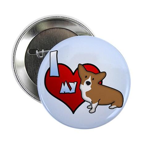 I Love my Corgi Button (Cartoon Dog)