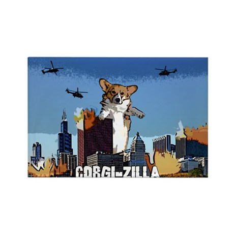 Corgi-zilla Rectangle Magnet