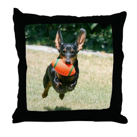 Football Doxie Throw Pillow