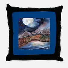 Moonlight Crow Raven Throw Pillow
