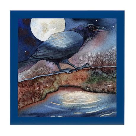 Moonlight Crow Raven Tile Coaster