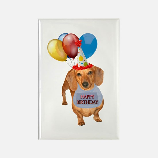 Red Doxie Birthday Rectangle Magnet