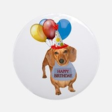 Red Doxie Birthday Ornament (Round)