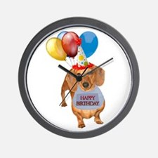 Red Doxie Birthday Wall Clock