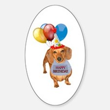 Red Doxie Birthday Oval Decal