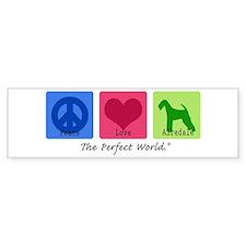 Peace Love Airedale Bumper Car Sticker