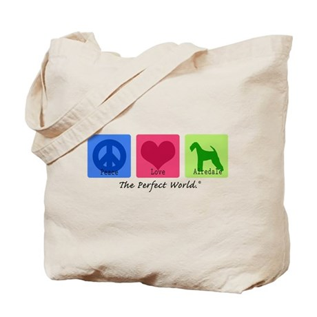 Peace Love Airedale Tote Bag