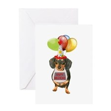 Black Doxie Birthday Greeting Card