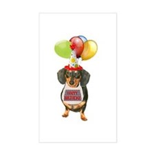 Black Doxie Birthday Rectangle Decal