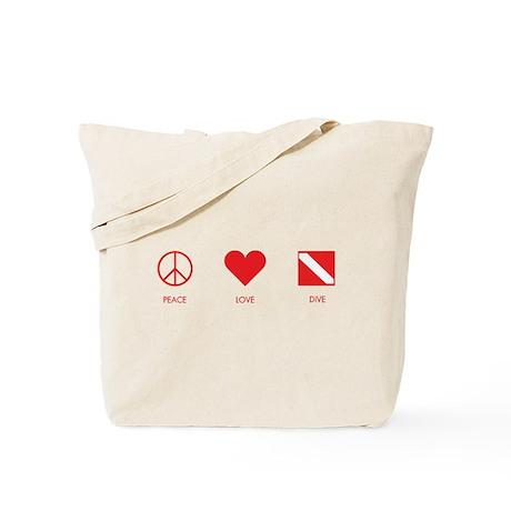 Peace Love Dive Tote Bag