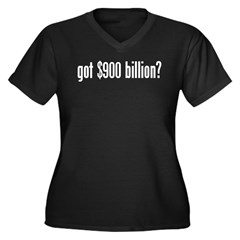 got $900 billion? Women's Plus Size V-Neck Dark T-