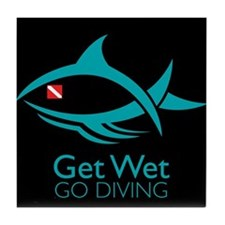 Get Wet Go Diving Tile Coaster