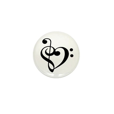 Treble Bass Clef Heart Mini Button