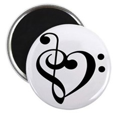 Treble Bass Clef Heart Magnet