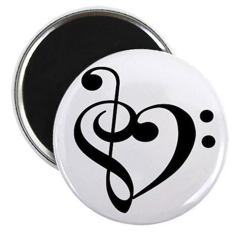 Treble Bass Clef Heart Magnet
