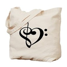 Treble Bass Clef Heart Tote Bag