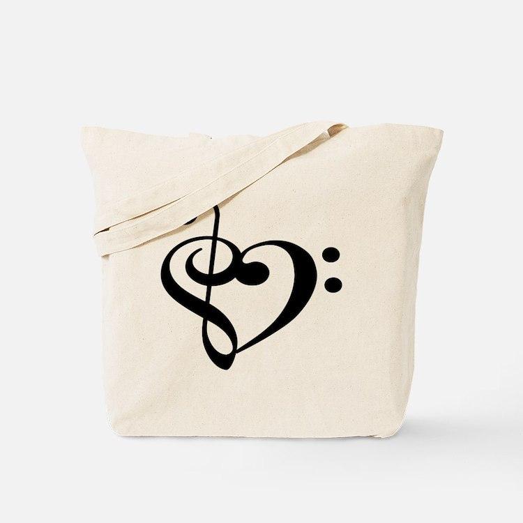 Treble Bass Clef Heart Tote Bag