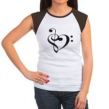 Treble Bass Clef Heart Women's Cap Sleeve T-Shirt